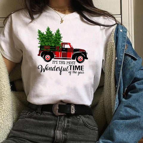 Womens Plaid Truck Tree Print Christmas Tree New Year T-shirt