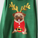Ugly Sweater Christmas Sweater Women Green Pug Dog Embroidery Sequins Knitted