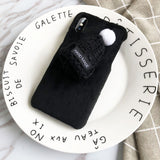 DIY Hairy Hat Phone Case For iPhone X XS MAX XR Winter Warm Cases For iPhone 7 8 6 6S Plus 11 Christmas New Year