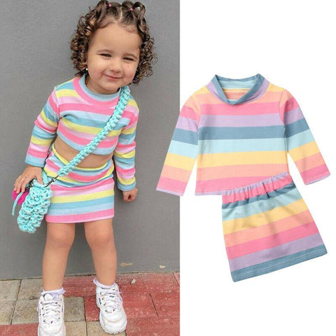 2PCS Toddler Kids Baby Girl Clothes Sets Color Stripe T-shirt Tops+Skirt Outfit 1-6Y Kids Clothes - Outfitter Style