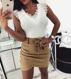 Mini Skirts High Waist Pencil Bodycon Cross Skirt White Pink Khaki S-XL