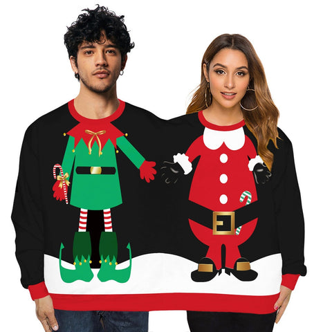Couples Novelty Christmas Siamese Sweaters Two Person Unisex Men Women Sweater Kintted