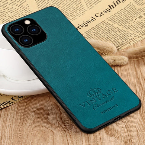 For iPhone 11 Pro Max 6.5'' iPhone 11 6.1'' Retro Leather Soft Edge Hard Back Case for iPhone 11 Pro 5.8''