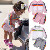 Toddler Kids Baby Girl Rainbow Coat+Vest+Short Pants Cotton Organza Outfit 3Pcs