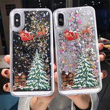 Dynamic Liquid Quicksand Christmas Phone Case For iPhone XR X XS Max 6 6S 7 7Plus 8 8 Plus Bling Transparent
