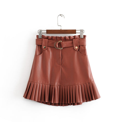 women's wear in small pleated imitation leather cake skirt