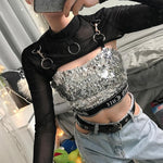 Black Punk Gothic Party Tops Metal Ring Long Sleeve Cropped T-Shirt Mesh Transparent