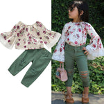 1-6Y 2PCS Toddler Kids Baby Girl Clothes Sets Floral T-Shirt Tops+Ripped Jeans Pants Outfit Clothes