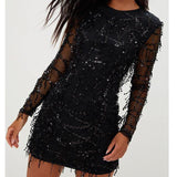 Black dress party long sleeve glitter sequin patchwork lace dress