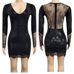 Black dress party long sleeve glitter sequin patchwork lace dress - Outfitter Style