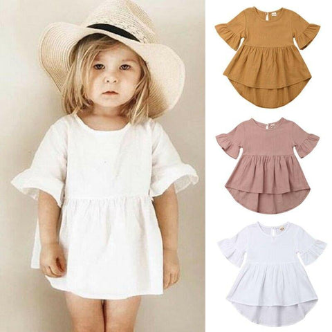 Casual Toddler Girls Dresses Solid Flare Infant Kids Cotton Linen Dresses Irregular Party Girls Clothes