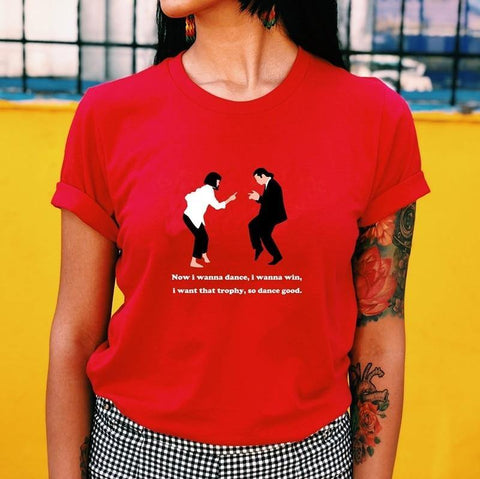Pulp Fiction Dance Red T-Shirt Grunge Style Cute Printed Tee 90s Fashion Street Wear