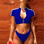 Bikini Set sport women swimwear swimsuit surf zipper padded