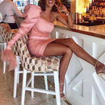 One Shoulder Ruched Fashion Pearl Mesh Puff Sleeve Celebrity Outfit Short Pink Party Dress