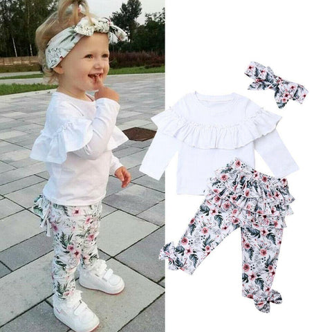 0-5Y Toddler Baby Girls Clothes Sets Outfits White Ruffle Tops Floral Pants Headband 3Pcs