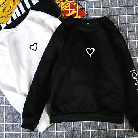 Couples Lovers Casual Hoodies Sweatshirts Love Heart Hoodies Print