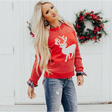 Christmas Sweater Women Knitted Ribbed Pullover Sweater O Neck Fashion Loose Slim Sweater