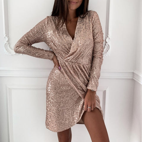 Hollow Out V-neck Slit Bodycon Dress Sexy Sequin Glitter Shiny Mini Dress