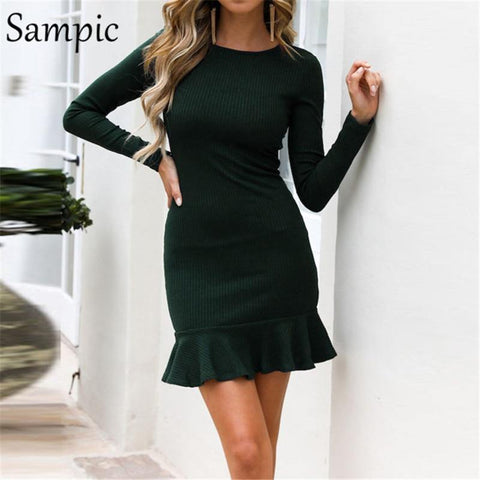 bodycon o neck party dress elegant ruffles wrap club autumn winter dress - Outfitter Style