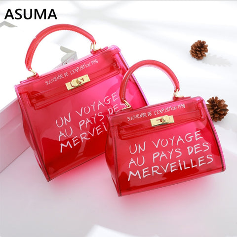 Women Fashion Transparent PVC Clear Alphabet Jelly Shoulder Bag