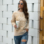 autumn and winter Christmas sweater snowflake pullover