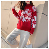 Christmas Sweaters Snowflake Xmas Patterned Half-Turtleneck Knitted