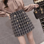 Tweed Half-length Skirt for Women White Black Chic Short Skirt