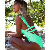 Leaf Print One Piece Swimsuit Women Ruffle Swimwear Bodysuit