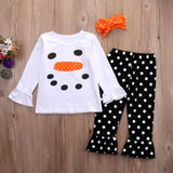 Toddler Kids Girls Clothes Set Headband Christmas Snowman Ruffle Polka Dot Outfits