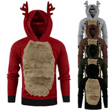 Christmas Hoodie Xmas Hoody Reindeer Feather Hooded