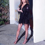 sequin dress patchwork fringe mesh long sleeve sexy see through party