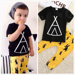 2pcs Outfits Clothes Sets Toddler Infant Kids Baby Boy Clothes Summer T-shirt Tops + Pants