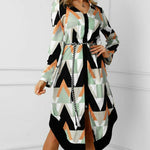 Women's Dress Lady Wave Print Long Sleeve V-neck Casual Loose Midi Dress