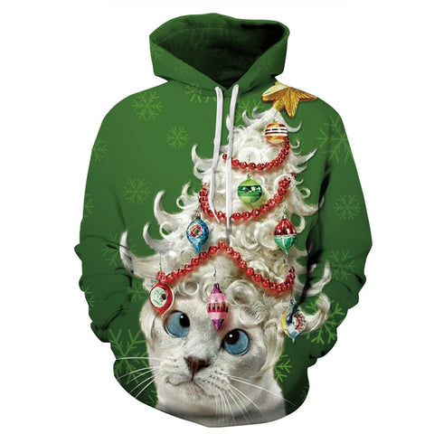 Christmas Cat Dog Trees Print Hoodie Lovers' Baseball Hoodies