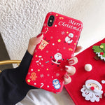 Christmas Deer & Snowman Phone Case For iPhone 11 Pro Max XR XS Max 6 6S 7 8 Plus X XS
