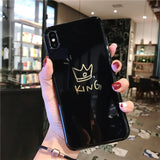 Letter King Queen Cover Phone Case For iPhone 6 6s 7 8 Plus Soft TPU Cases For iPhone 11 Pro Max XR XS Max