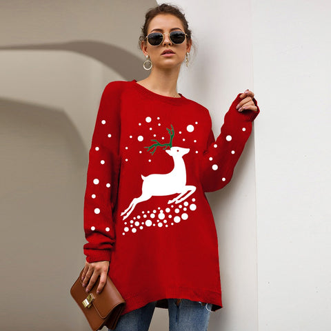 Women's Christmas Sweater Long Sleeved Casual Loose Knit Sweaters Pullover Plus Size