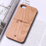 Custom Name Hard Wood Phone Case For iPhone 11 Pro Max 6S XS Max 7 7Plus 8 8Plus 5 X  XR