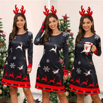Women's Xmas Dress Snowman Snow Reindeer Christmas Party A-Line Mini Dress