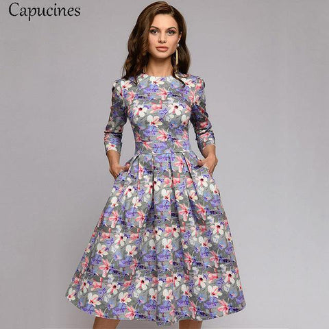 3/4 Sleeves Printed Dress Women Spring Summer Vintage Pocket A-line Casual Dress