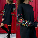 Dress Women Floral Print Sleeve O-Neck Loose thin Warm sexy