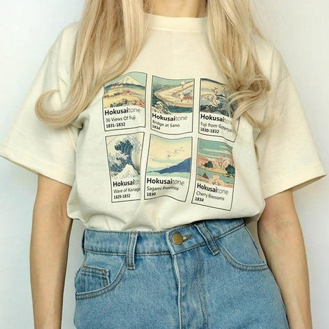 Katsushika Hokusai Painting T Shirt Women Short Sleeve 3D Printed