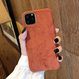 Case For iPhone 7 8 Plus 11 Pro X XR XS Max Furry Cloth Solid Color Shell Soft PU Back Cover For iPhone 11