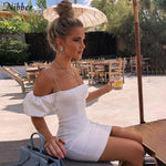 party night lace up bodycon dress women Elegant off shoulder club Slim dress