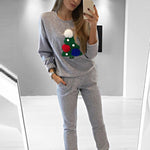 Merry Christmas Printing Full Sleeve Sweatshirts Tops Casual Ladies Cotton Pullovers Streetwear