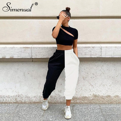 Casual Sporty Women Sweatpants Autumn Fashion Patchwork Trousers Workout