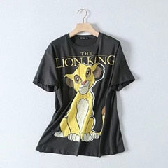 lion king cute printing o-neck oversize terry cotton pullovers