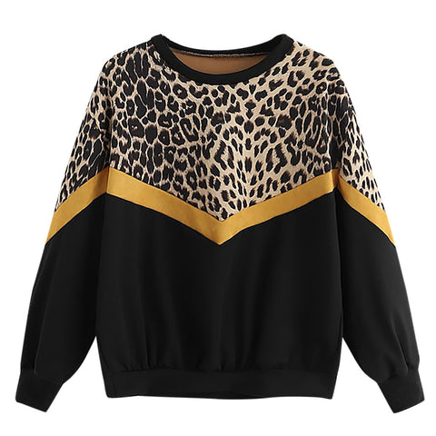Leopard Print Sweatshirt Casual Chic Attractive O-Neck Jumper