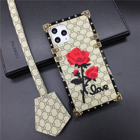 Phone Case for Samsung S10 Plus S8 S9 Note 10 PRO 9 8 Square Rose Flower Cover for iPhone XS Max X XR 11 PRO MAX 6 6S 7 8 Plus