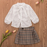 Cute Korean Style Toddler Kid Baby Girls Tops Flower T-shirt Skirts 2pcs Outfits